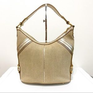 Yves Saint Laurent Canvas & Leather Shoulder Bag